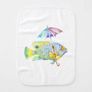 Angel Fish With Umbrella Burp Cloth