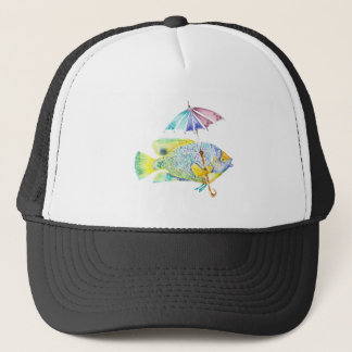 Angel Fish With Umbrella Trucker Hat