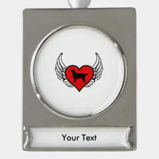 Angel Flat-Coated Retriever dog winged Heart Silver Plated Banner Ornament