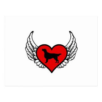 Angel Flat-Coated Retriever dog winged Heart Postcard