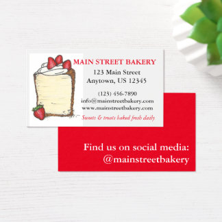 Angel Food Cake Bakery Baked By Strawberry Chef Business Card