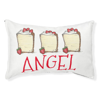 ANGEL Food Cake Slice Personalized Strawberry Food Pet Bed