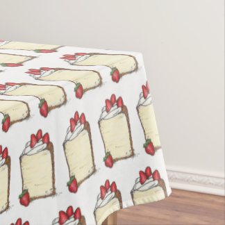 Angel Food Cake Slice Strawberries Dessert Foodie Tablecloth