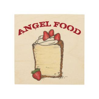 Angel Food Cake Strawberries Bakery Food Kitchen Wood Print