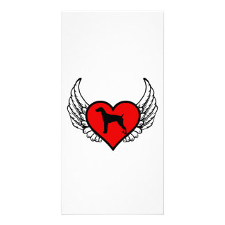 Angel German short-Haired Pointer winged Heart Picture Card