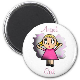 Angel Girl 6 Cm Round Magnet