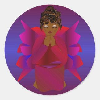 Angel Girl Classic Round Sticker