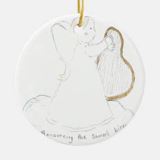 Angel Girl Round Ceramic Decoration