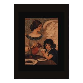 Angel Giving Child Cocoa 14 Cm X 19 Cm Invitation Card