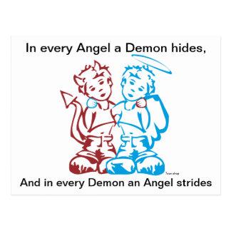 Angel gold Demon Postcard