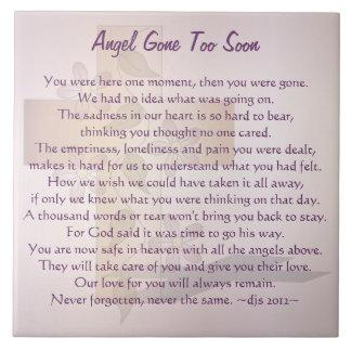 Angel Gone Too Soon Large Square Tile