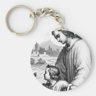 Angel Guarding A Child Basic Round Button Key Ring