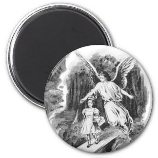 Angel Guarding A Girl Child 6 Cm Round Magnet