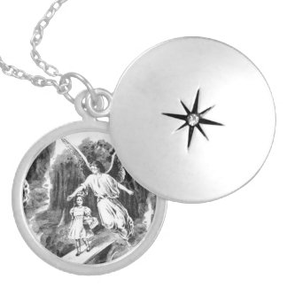 Angel Guarding A Girl Child Round Locket Necklace