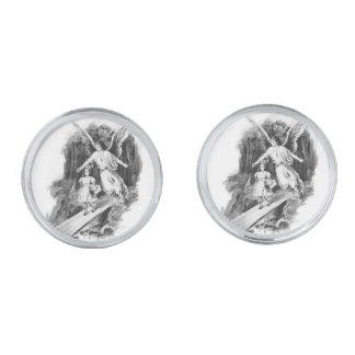 Angel Guarding A Girl Child Silver Finish Cufflinks