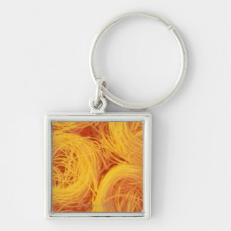 Angel hair pasta Silver-Colored square key ring