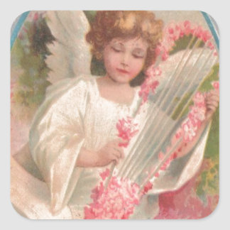 Angel Harp Music Easter Egg Cherry Tree Square Sticker