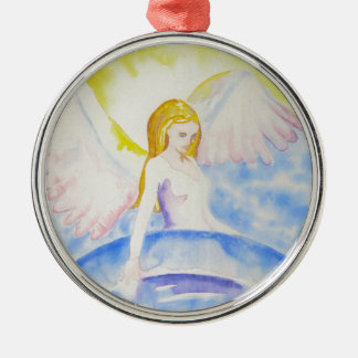 Angel Healing the Planet Silver-Colored Round Decoration