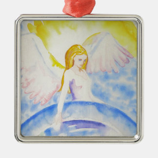 Angel Healing the Planet Silver-Colored Square Decoration