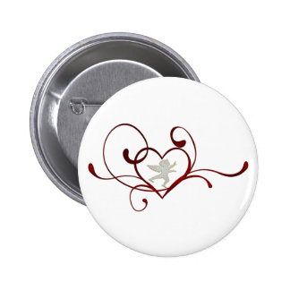 Angel heart 6 cm round badge