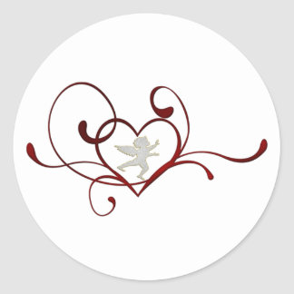 Angel heart round sticker