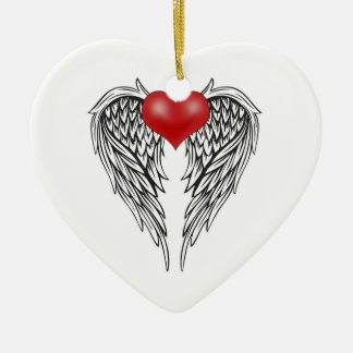 Angel heart tattoo ceramic ornament