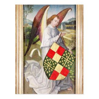 Angel holding a shield postcard