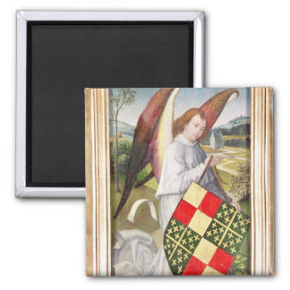 Angel holding a shield square magnet