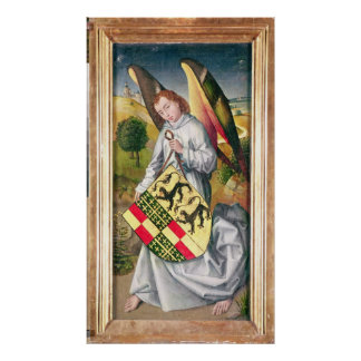 Angel holding a shield with  two leopards poster