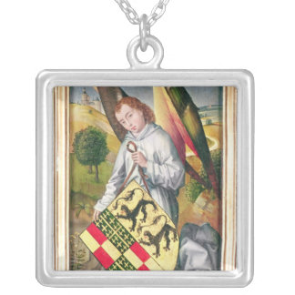 Angel holding a shield with  two leopards silver plated necklace