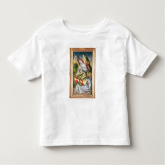 Angel holding a shield with  two leopards tees