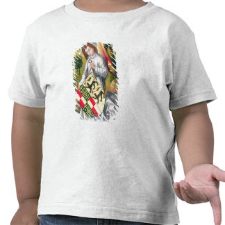 Angel holding a shield with  two leopards tee shirts