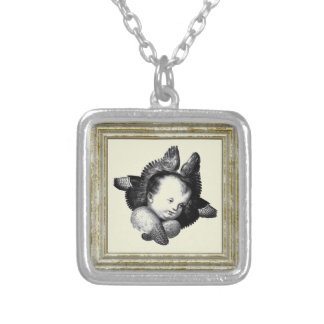 Angel In Black And White Silver Plated Necklace