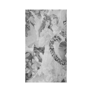 Angel in Black and White with Flowers Canvas Print