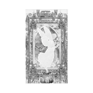 Angel in Black and White with Flowers Stretched Canvas Prints