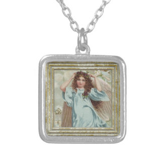 Angel In Blue Dress Silver Plated Necklace