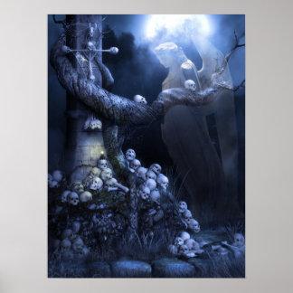 Angel in skull graveyard posters