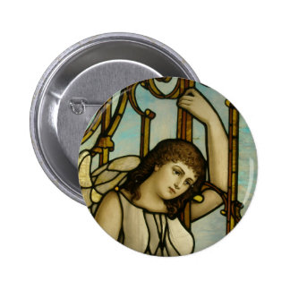 Angel In Stained Glass 6 Cm Round Badge