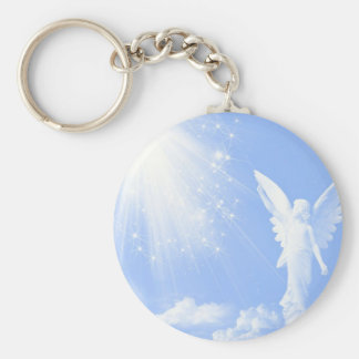 Angel In The Clouds Basic Round Button Key Ring