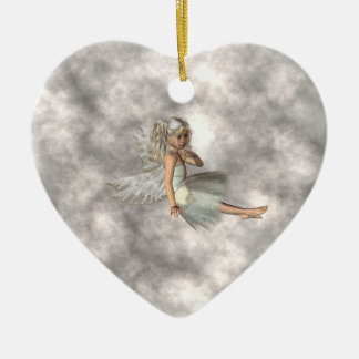 Angel in the Clouds Ceramic Ornament