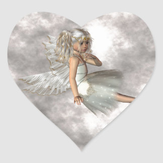Angel in the Clouds Heart Sticker