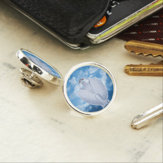 Angel in the clouds lapel pin