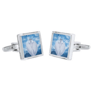 Angel in the clouds silver finish cufflinks