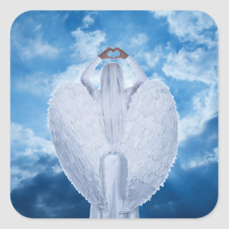 Angel in the clouds square sticker