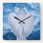 Angel in the clouds square wall clock