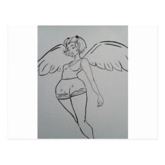 Angel Inked and Cute Girl Postcard