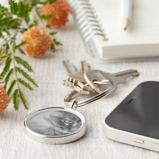 """""""Angel Kitty"""" Portrait Silver-Colored Round Key Ring"""