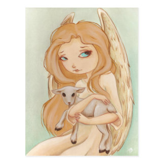 Angel lamb post card