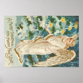 Angel Lighting Candlelit Christmas Tree Poster