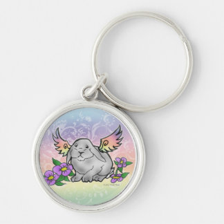 Angel Lop Bunny Silver-Colored Round Key Ring